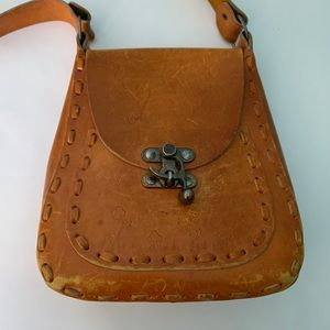 Authentic 70s Hand-tooled LEATHER Bag